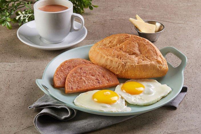 Two Pan fried Eggs & Luncheon Meat w Crispy Rugby Bun